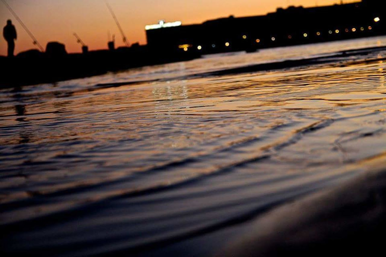 sunset, water, river, nature, outdoors, no people, wave, night, architecture, sky, beauty in nature, city, close-up