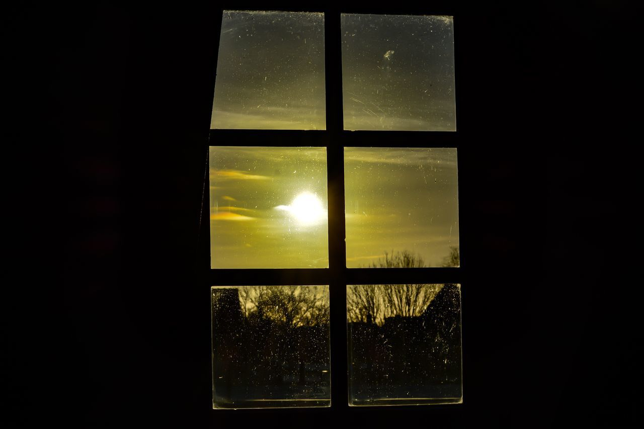 window, glass - material, sun, indoors, sunset, sky, no people, sunlight, looking through window, yellow, nature, day, close-up