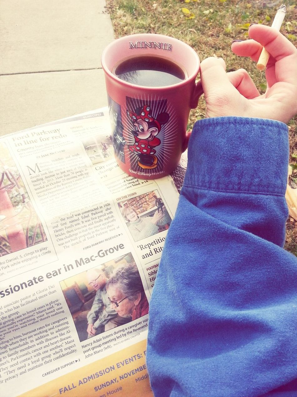 coffee, a cigarette, & the paper on the front steps in the morning. Minnie Mouse Coffee And Cigarettes The Morning Paper Hello World