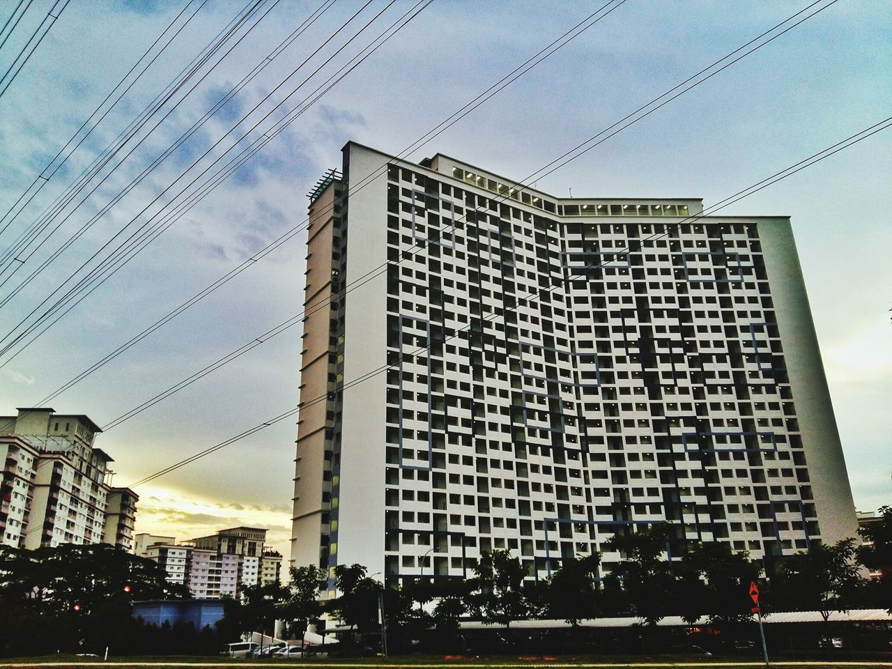 End of the day. Building Exterior Sky Outdoors No People Apartment Buildings Sunset And Clouds  Cables And Wires Neighborhood Kuala Lumpur Malaysia Scenery Samsunga5