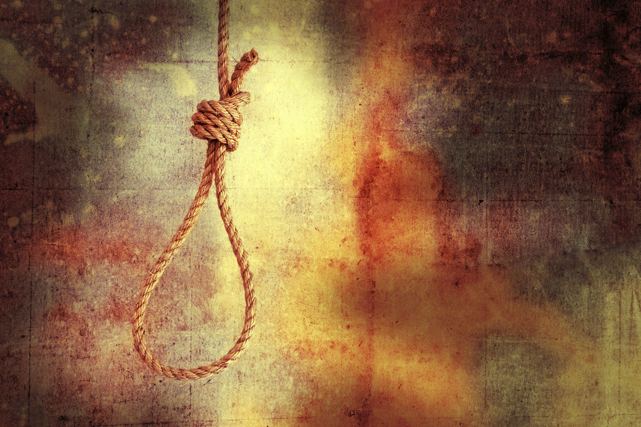 Noose on grunge background - horizontal Bright Close-up Day Execution Grunge Hanging Hangman Hangman's Knot Knot No People Noose Rope Suicide