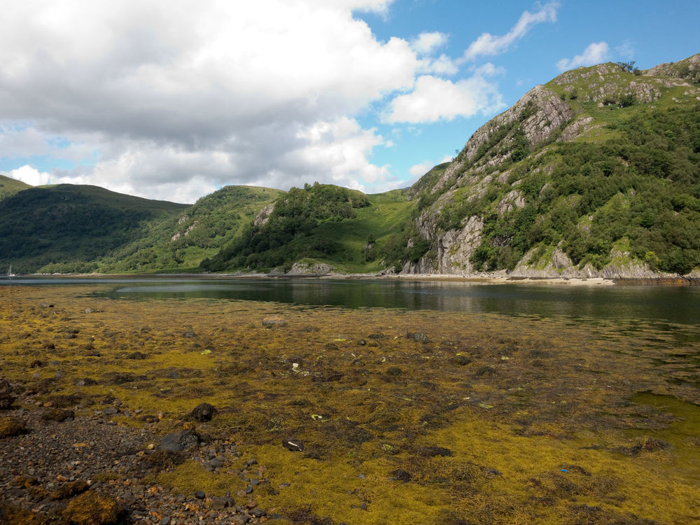 Barrisdale Bay near Mallaig, Inverness, Scotland, United Kingdom. Calm, quiet lake with a pebble beach surrounded by mountains. Barrisdale Bay Bay Calm Clear Waters Day Europe Highlands Highlands Of Scotland Inverness Lake Lake View Landscape Loch Ness Mallaig Nature No People Outdoors Peaceful Pebble Beach Scenics Scotland 💕 Uk United Kingdom Vacation Water