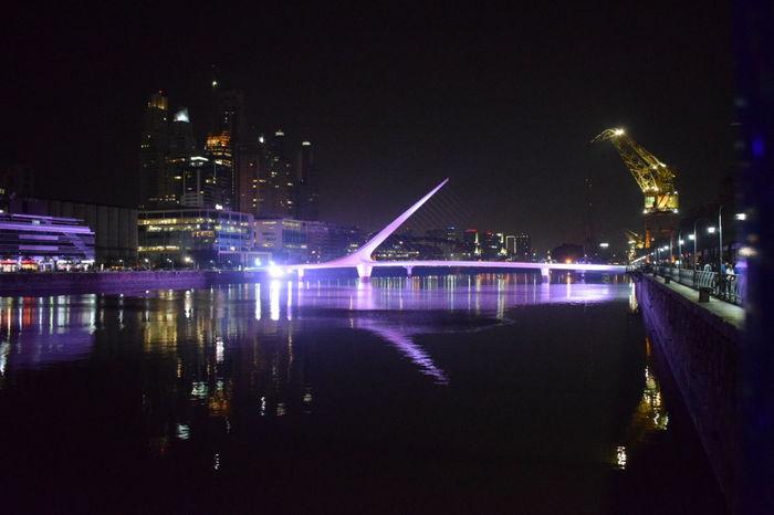 Puente De La Mujer Night Architecture Puerto Madero Buenos Aires City No People Water Illuminated