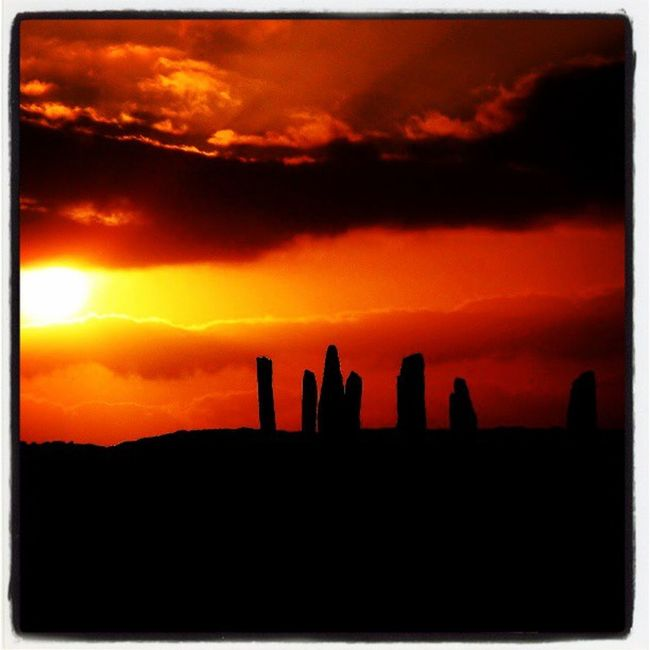 Sunset Scotland Orkneyislands Orkney Stonecircle Ringofbrodgar Stoneage Johnnelson