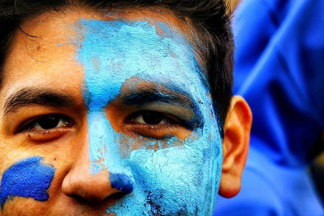 War Paint Blue Paint Face Stare Eyes Closeup