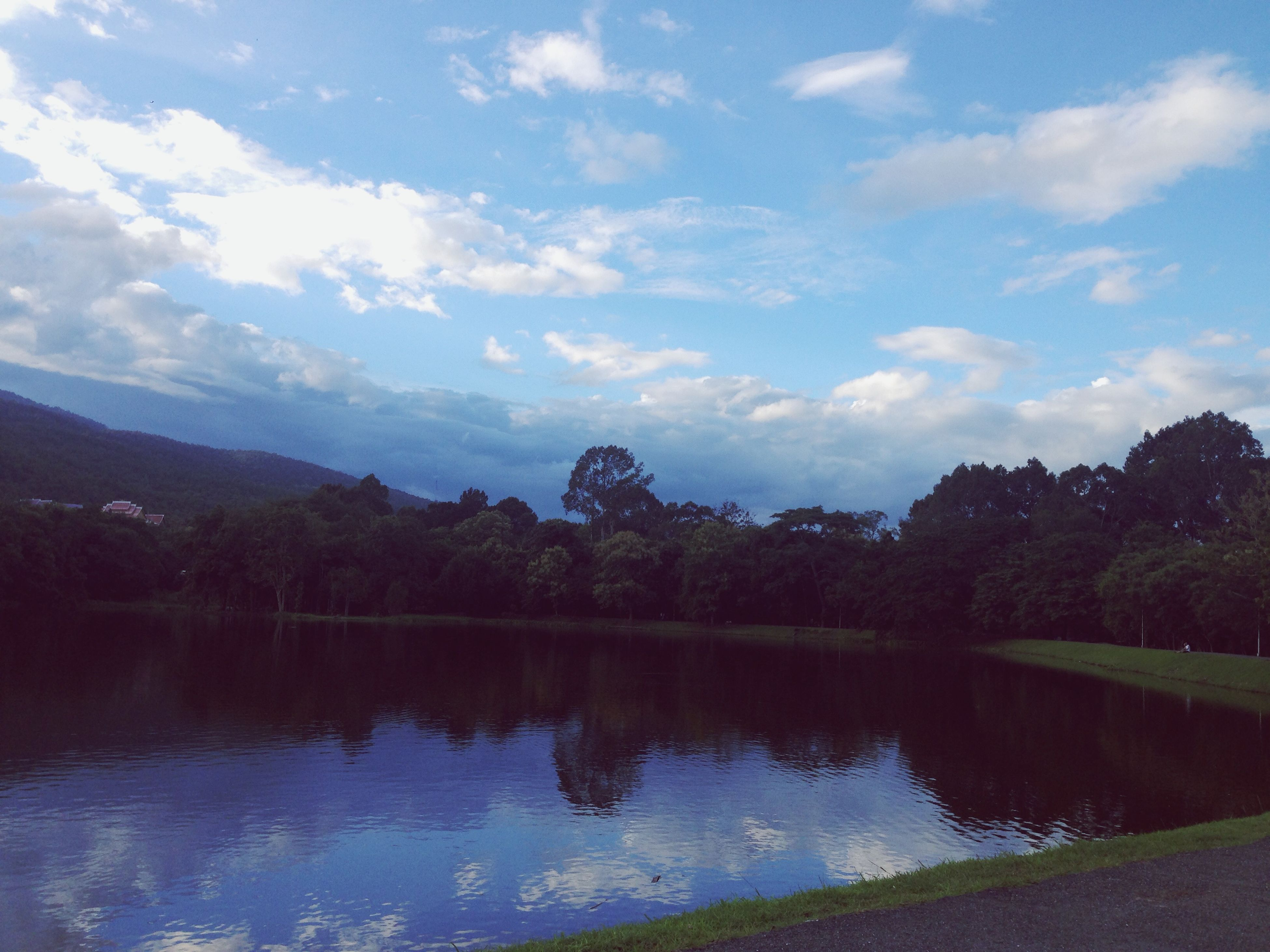 water, tree, reflection, sky, tranquil scene, lake, tranquility, scenics, beauty in nature, cloud - sky, nature, river, cloud, waterfront, mountain, standing water, idyllic, calm, landscape, outdoors