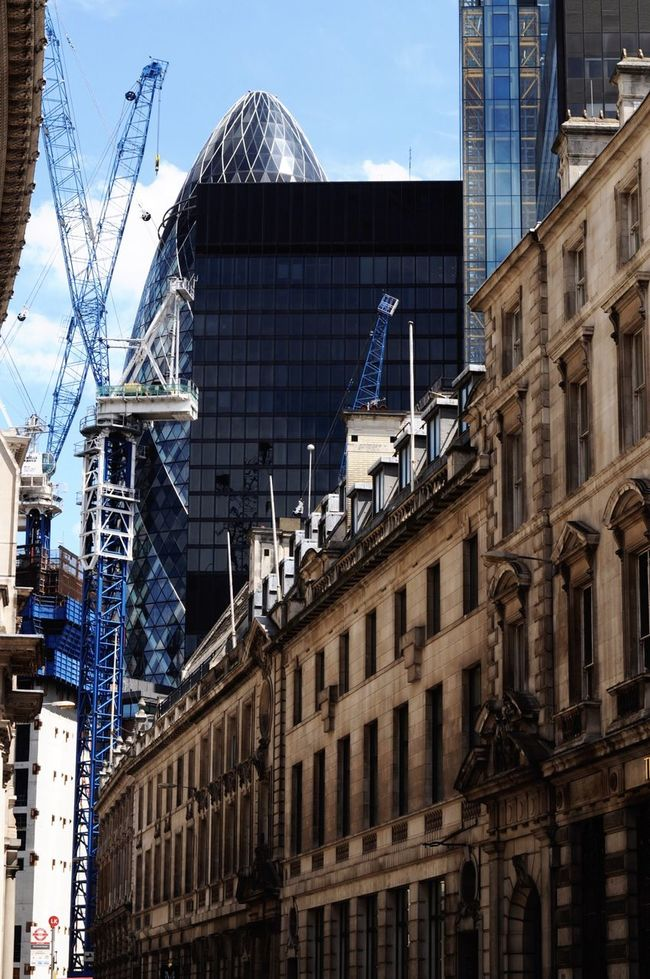 Gherkin Tower Urban Contrast Colours London City Building Old And New Check This Out Taking Photos Life Growing Street