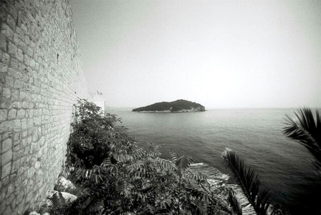 Seaside Black And White Analog Photography Analog Film Wall Rocks Stones Water Ultra Wide Angle