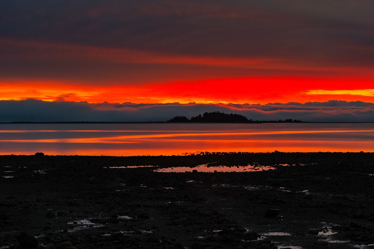 Beauty In Nature Day Dramatic Sky Lake Landscape Nature No People Orange Color Outdoors Reflection Salish Sea Scenics Sky Sunrise Sunset Tranquility Water