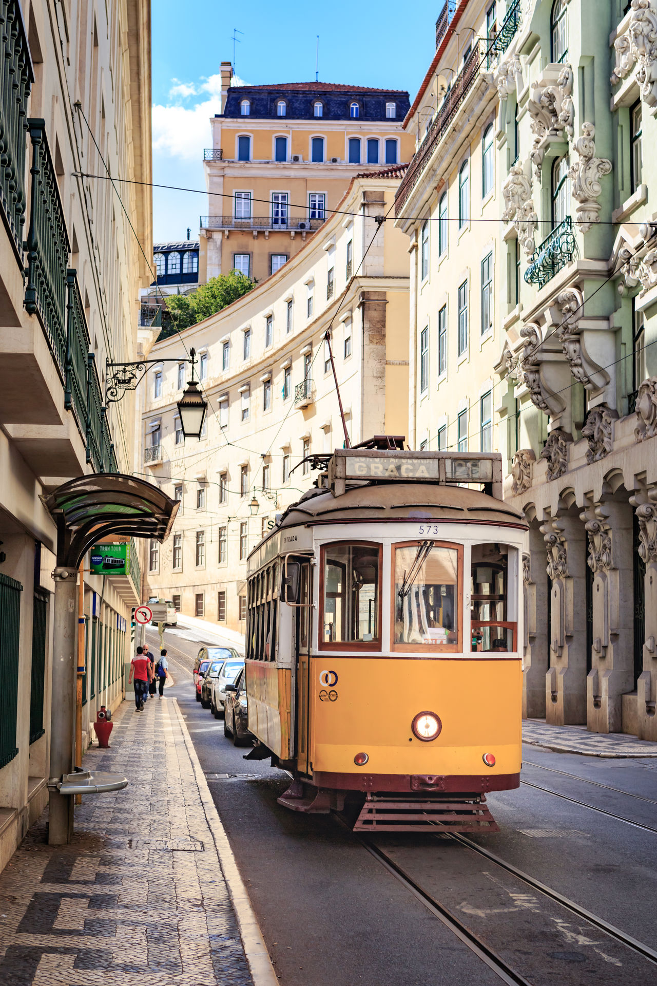 LISBON, PORTUGAL - CIRCA OCTOBER, 2016: Streets of Lisbon town, Portugal. Architecture Architecture, Building, Castle, Editorial, Europe, Exterior, Famous, Formal, History, House, Lisbon, Old, Palace, Park, Portugal, Public, Residential, Sightseeing, Street, Touristic, Tram, Travel Building Exterior Built Structure City Day Incidental People Mode Of Transport Outdoors People Real People Sky Street Transportation