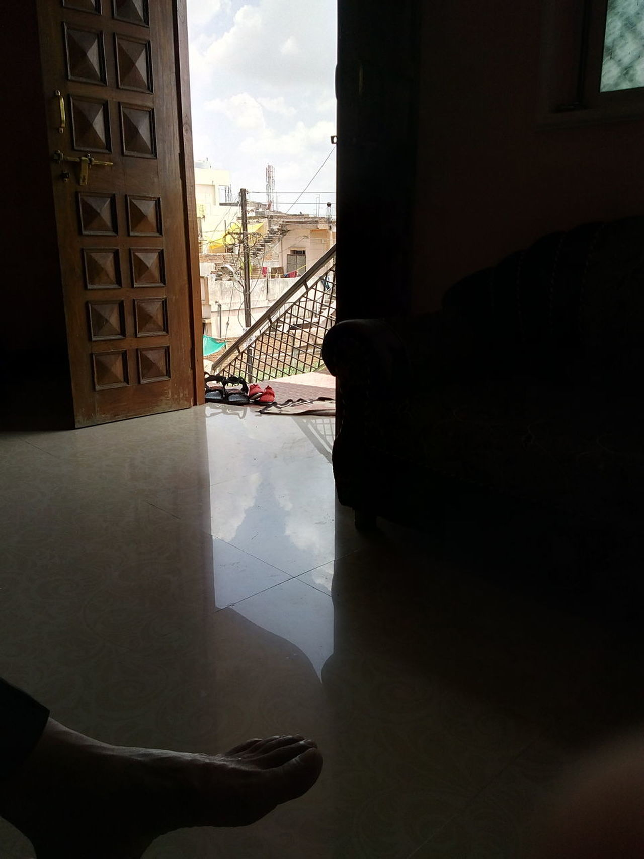 Heyyyy, Indoor Photography Floor Reflection Dark Photography Blue Sky Slum Area Father Aside Desingner Doors First Floor But Still A Lot To See In Nagpur,India