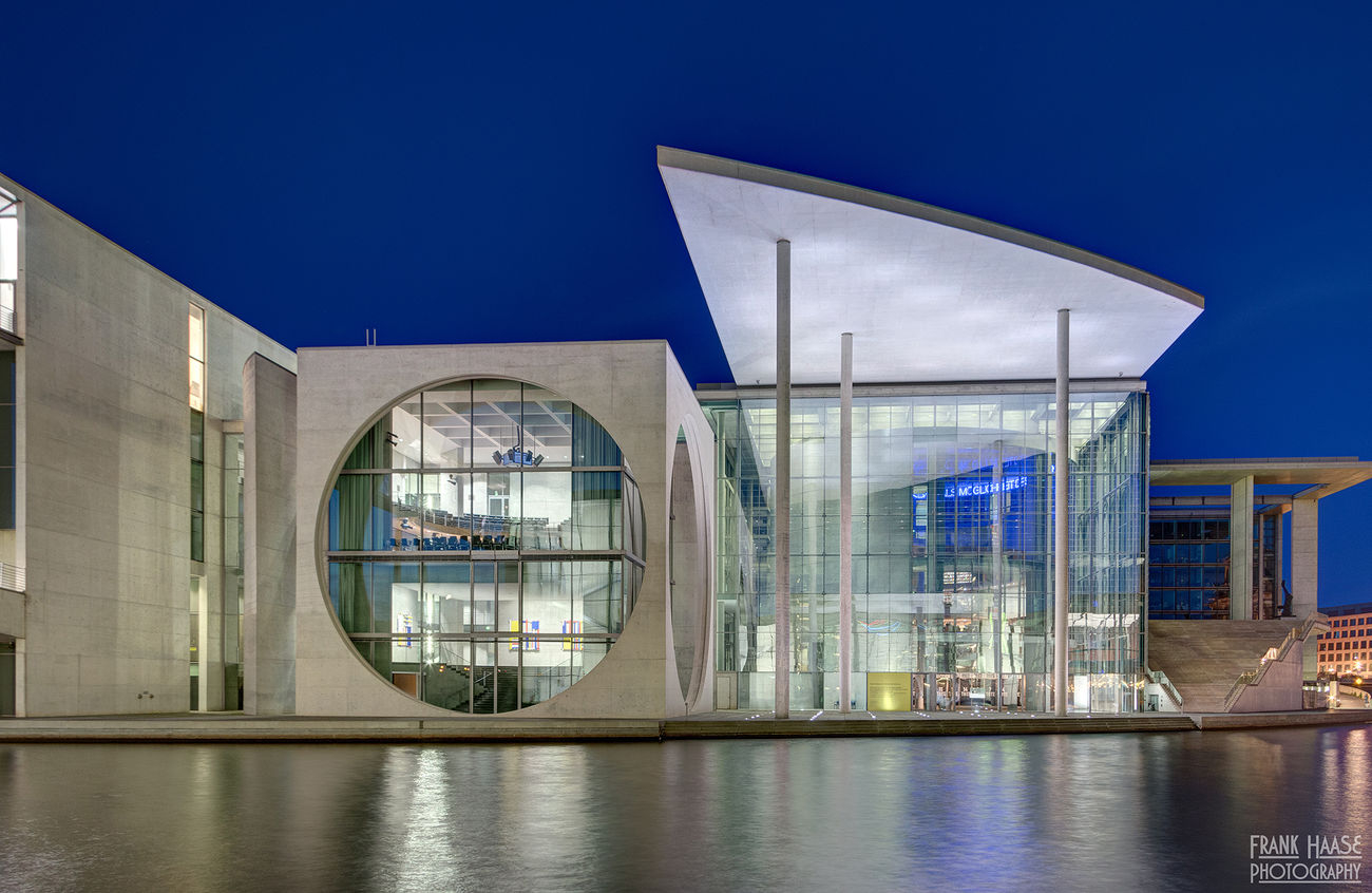 Architecture Berlin Blue Building City Cityscape Futuristic Germany Glass HDR Light Modern Night No People Office Outdoor Reflection Sky Town Water Windows