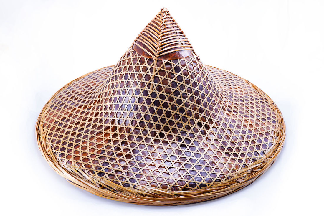 Hat for farmer or gardener made from bamboo with clipping path, Thailand. Farmer Gardener Bamboo Clipping Path Close-up Day Di-cut Hat Fair Indoors  No People Pattern Studio Shot White Background