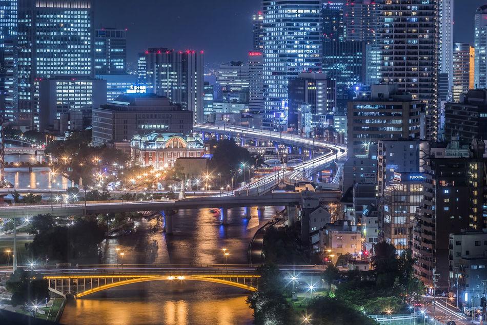 大阪夜景8/31 Osaka Night View Night City Life From My Point Of View OSAKA Nightphotography Night Photography Night View Catch The Moment My Fevorite Place capturing motion Close Up Technology Light And Shadow Light Tail The City Light Welcome To Black