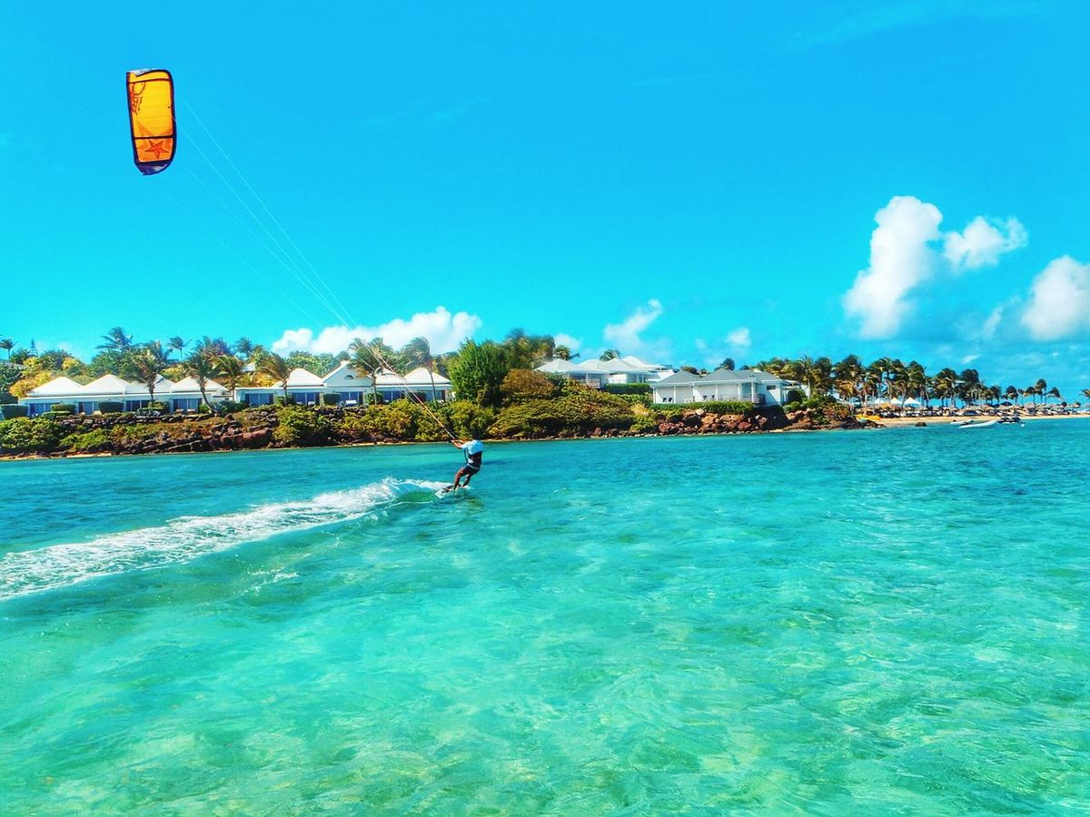 Blue Water Sport Sky Outdoors Day Stbarths Caraïbes Antilles Françaises Caribean Sea French West Indies Kitesurfing Kiteboarding Travel Island Travel Destinations Beauty In Nature Paradise On Earth