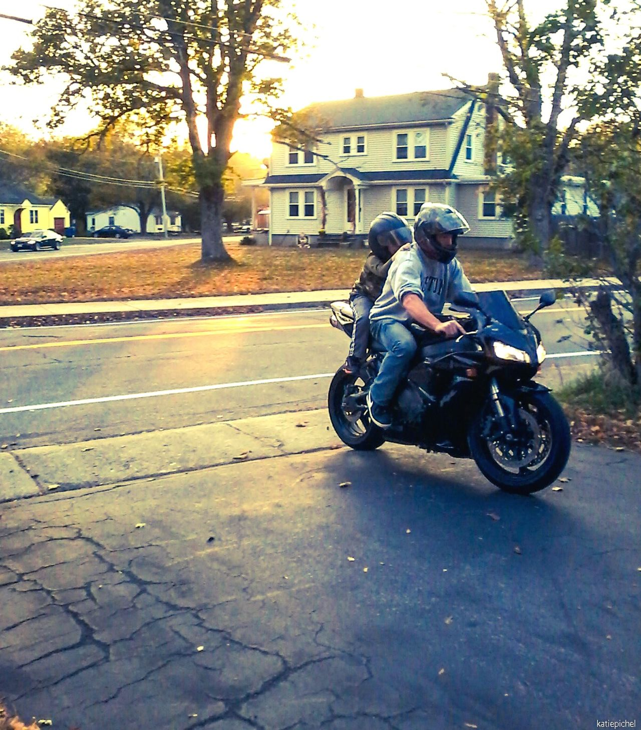 Transportation Full Length Motorcycle One Person Mode Of Transport Outdoors Day Land Vehicle Real People Mature Adult Building Exterior Person Built Structure City Vertical Fresh On Eyeem  Clear Sky Fatherhood Moments Father Fatherandson Fatherand Bonding Bond Family