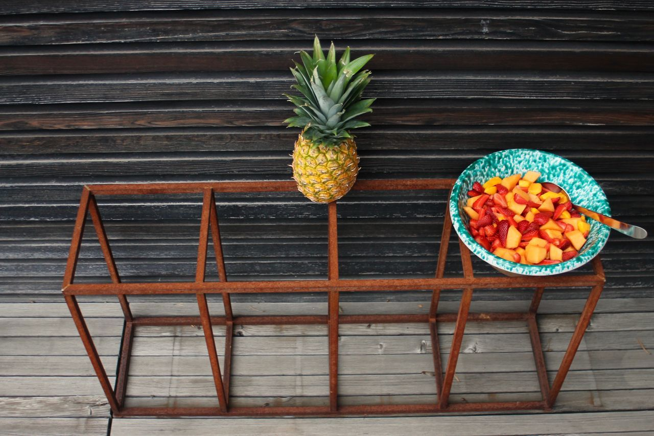 Colourful Day Freshness Friuts Healthy Eating Live For The Story Metal No People Outdoors Pineapple Summer Vibes Wood