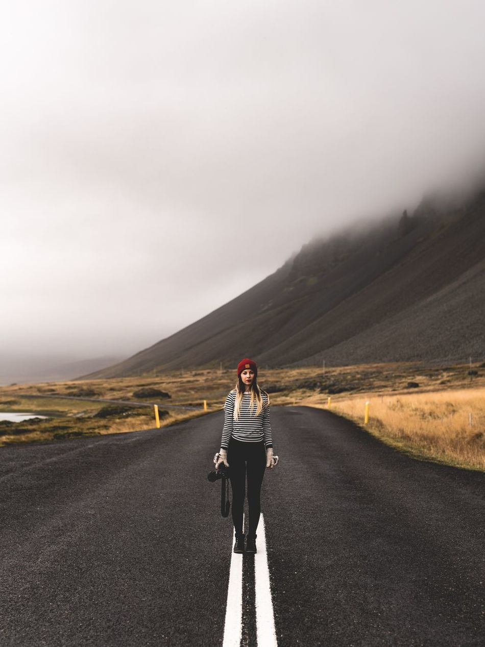 It's just us One Person Road Adventure Cloud - Sky Mountain Adult Scenics Nature Young Adult Travel Photography Travel Destinations Full Frame Travel Europe Showcase: April Environment Idyllic Dreamy Iceland Outdoors