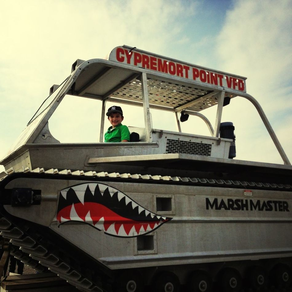 Evan on the Cypremort Point Marsh Buggy!!