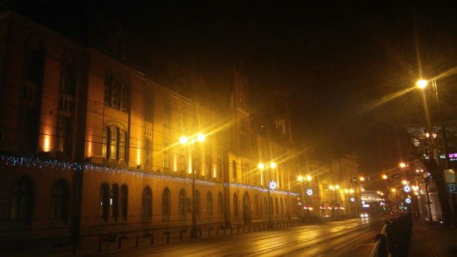 Night Photography Jagiellonska St. Post Office Poland