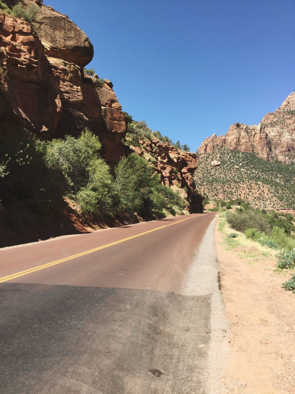 The Way Forward Clear Sky Rock Formation Mountain Red Rock Formation Road To Nowhere Zion National Park