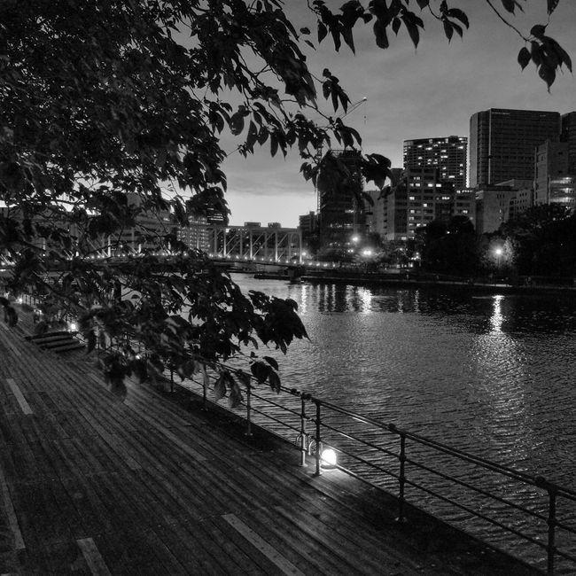 River Riverside River View Landscape B&w Street Photography Streetphotography_bw City Life Night Snapshot Nopeople No People Twilight Night Lights Reflection Reflections City Lights Light And Shadow at Shinagawa 品川 , Tokyo Japan