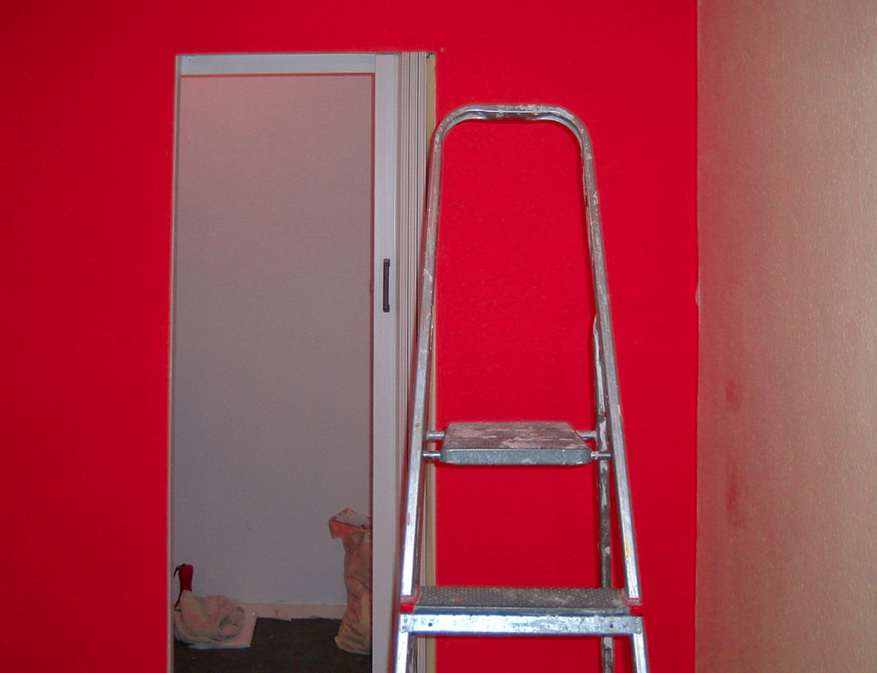 Architecture Built Structure Coloring Door Indoors  Ladder Painting Red Renovation Wall