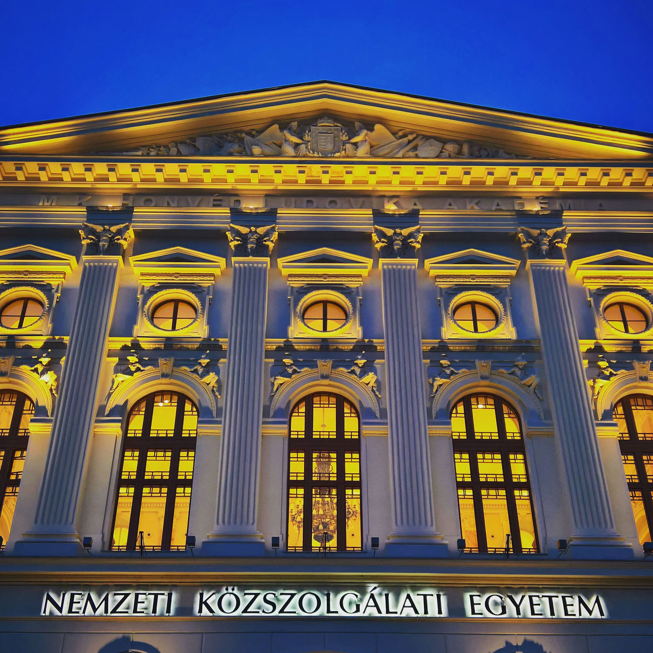 Architecture Blue Budapest Building Exterior Built Structure City Classicism Clear Sky Day Egyetem Hungary Low Angle View Ludovika No People Outdoors The City Light Travel Destinations Univeristy
