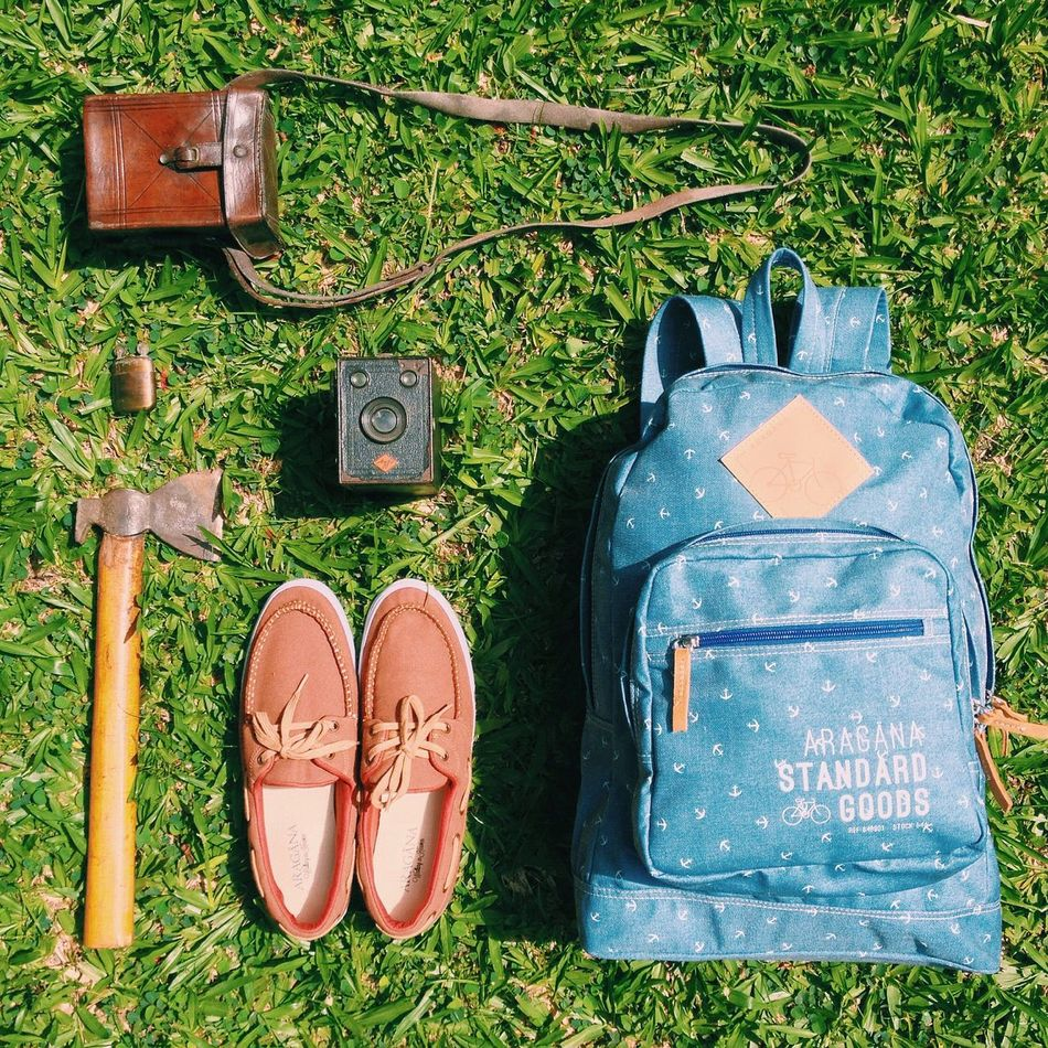 Adventure Essentials Lieblingsteil Shoe Grass No People Outdoors Day Backpacking Bag Vintage