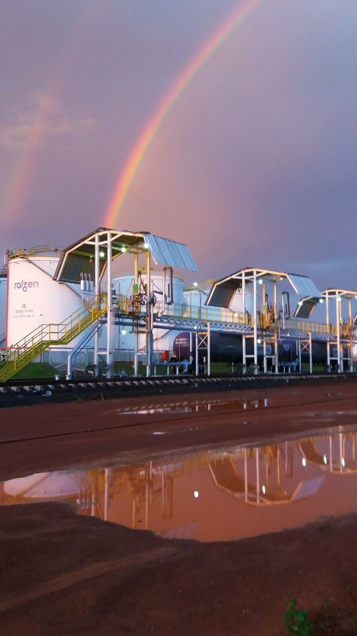 rainbow, amusement park, no people, built structure, double rainbow, amusement park ride, sky, outdoors, water, nature, illuminated, architecture, day