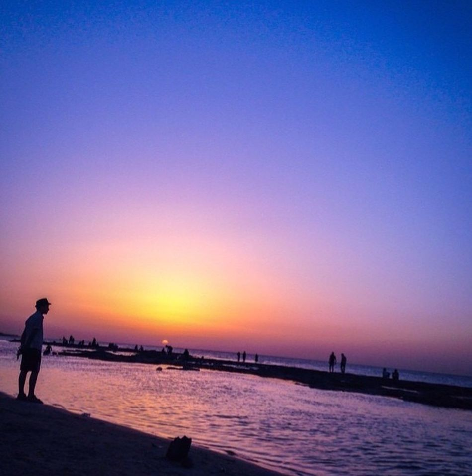 Sunset Clear Sky Water Beach Misrata Libya
