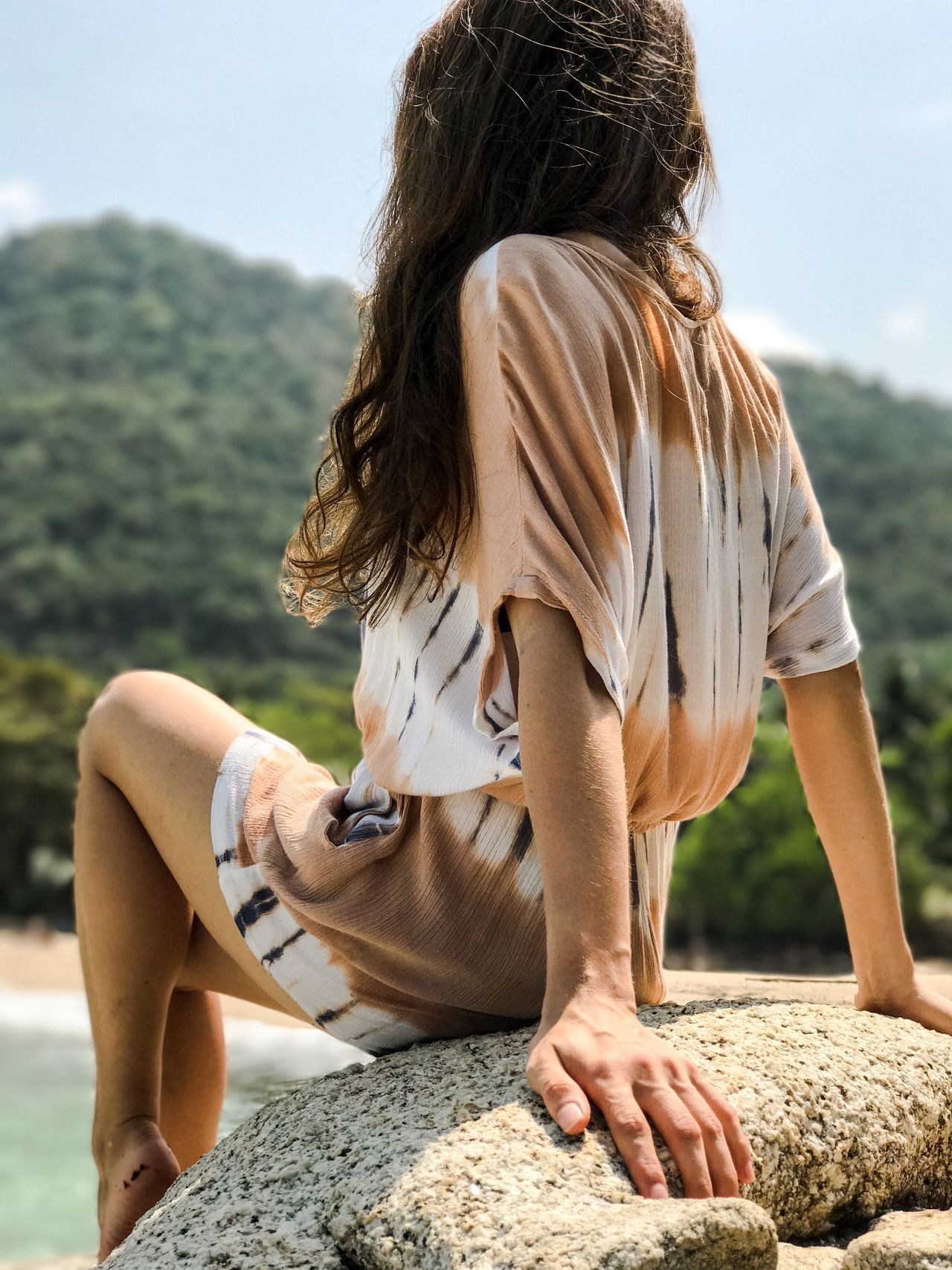 Adult Adults Only Adventure Close-up Day Enjoying The Sun Focus On Foreground Leisure Activity Long Hair Mountain Nature One Person One Woman Only One Young Woman Only Only Women Outdoors People Portrait Of A Woman Rear View Sitting Summer Travel Vacations Women Young Adult