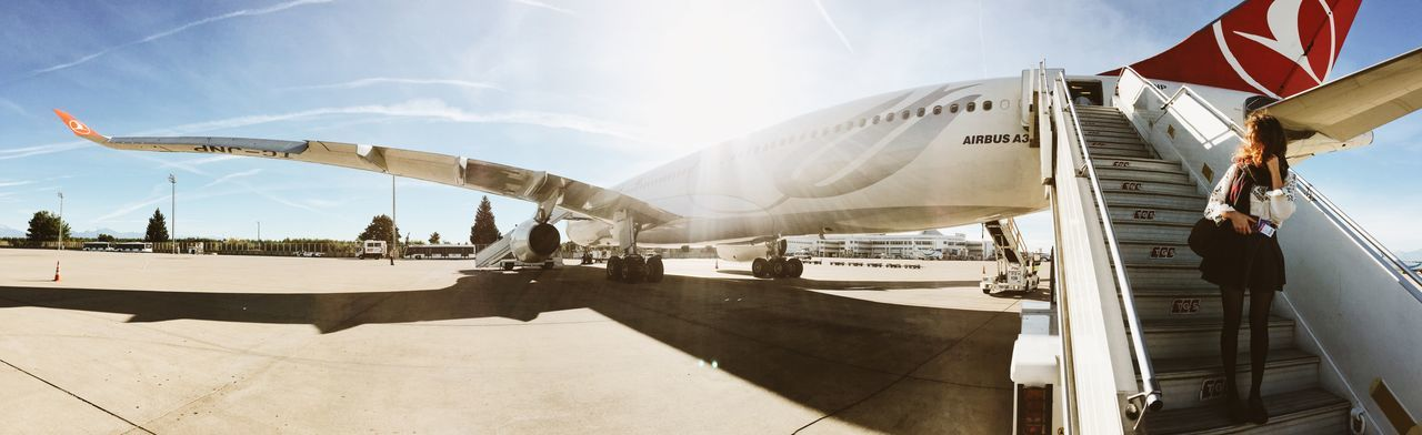Panorama At The Airport Airport Catching A Flight Last-minute Flight Airplane Plane Traveling Travel Boarding Turkishairlines Sunny Day Sun Airbus Girl Stairs The Portraitist - 2016 EyeEm Awards