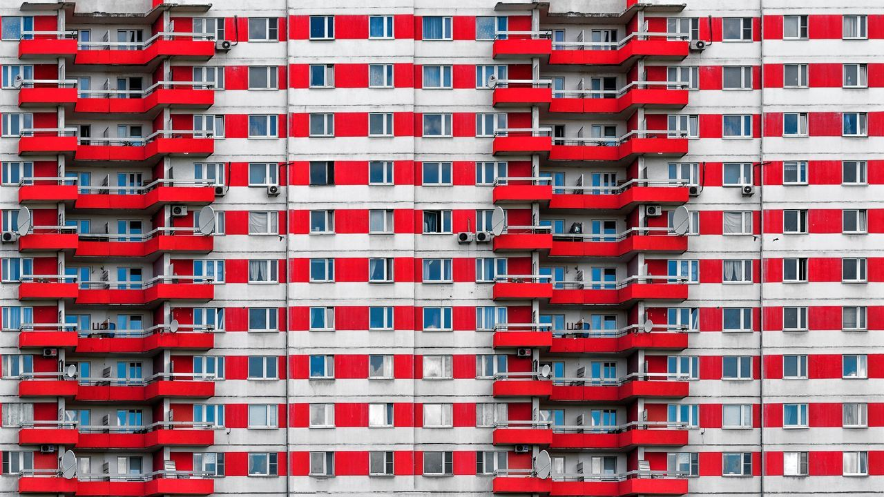 Apartment Architecture Building Exterior Built Structure City City Life Cityscape Clear Sky Day Full Frame No People Outdoors Red Travel Destinations