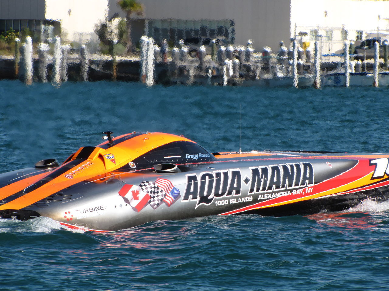 after the race Aqua Mania Fast Flags Harbor Outdoors Racing Silver Boat Speed Boat Speeding Warf Water Winner