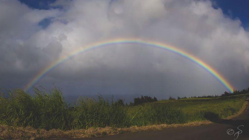 Full rainbow 🌈, Big Island, Hawaii. 🌴 Rainbow Full Rainbow Big Island Big Island Hawaii Hawaii Hawaiian Nature Sky Landscape Cloud - Sky Grass Outdoors No People Miles Away