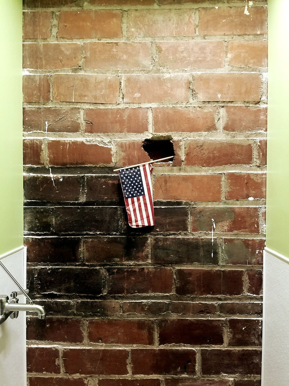 patriotism, flag, brick wall, stars and stripes, striped, red, no people, architecture, outdoors, day, built structure