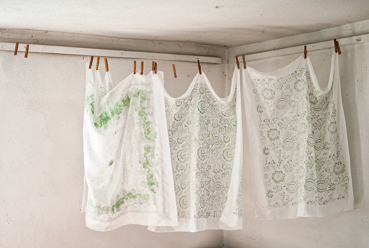Hand printed scarves Cloth Crafts Drying Handcraft Handmade Homemade Print Printed Scarf Scarves Simple Life Stamp