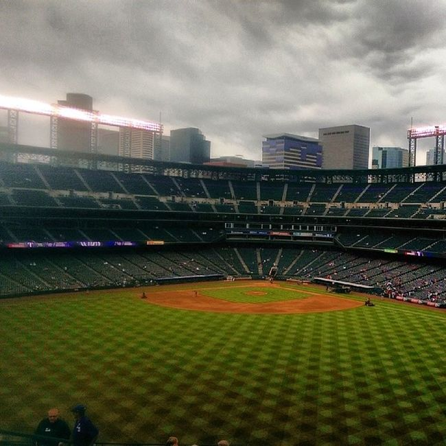 At the Rangers game, excited to see my hometown team in action. Texasrangers Coloradorockies Coorsfield