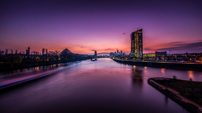 Sunset over Frankfurt City Angles And Lines Architecture City Colours Different Perspective Ecb EZB Frankfurt Am Main Illuminated Longtimeexposure No People Purple Reflection River Romantic Sky Sky Skyline Frankfurt Skyscraper Sunset Tall - High Urban Skyline Water Waterfront Wide Angle