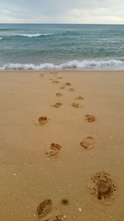 Clear Sky Adventure High Angle View Nature Outdoors Sand Beach Day Water Landscape Beauty In Nature Be. Ready. Footprints Waves Oceanside Mobility In Mega Cities Colour Your Horizn