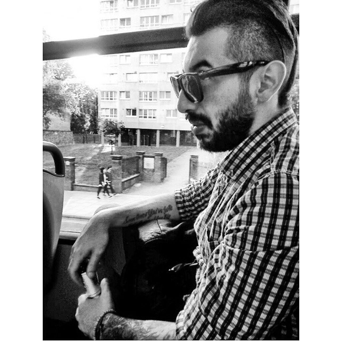 London 243bus Blackandwhite Tattoos manmodel beards rayban levis shoreditch