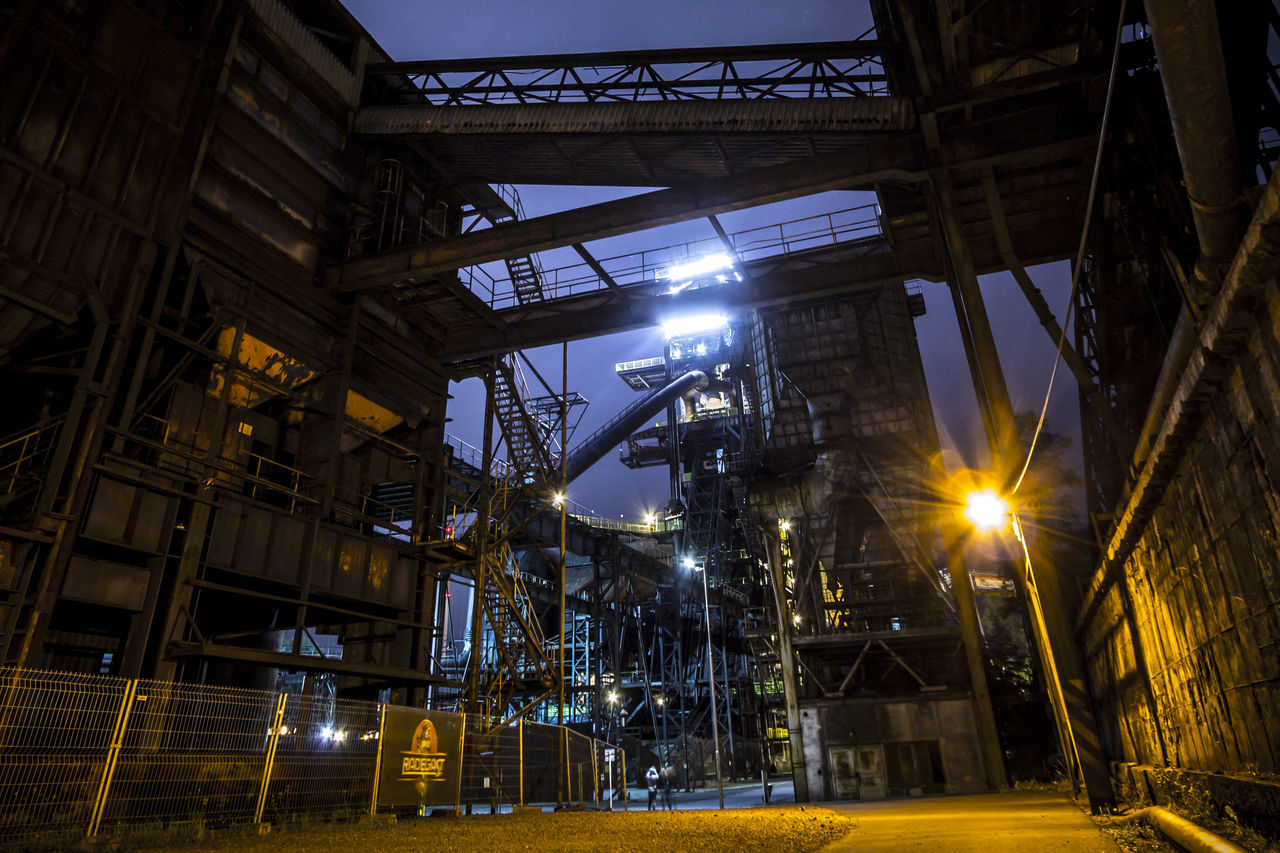 Built Structure Coalmine Dolni Oblast Vitkovice Factory Illuminated Industry Industry In City Industry Vs Nature Long Exposure Night Night Sky No People Outdoors Steel Factory Vitokovice