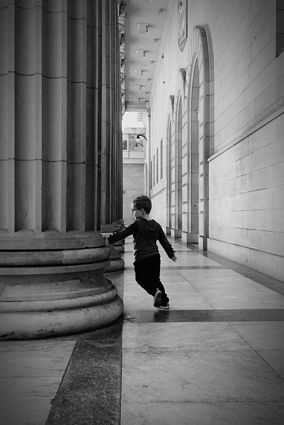 My son running in circles Black & White Taking Photos Mobilephotography Perspective