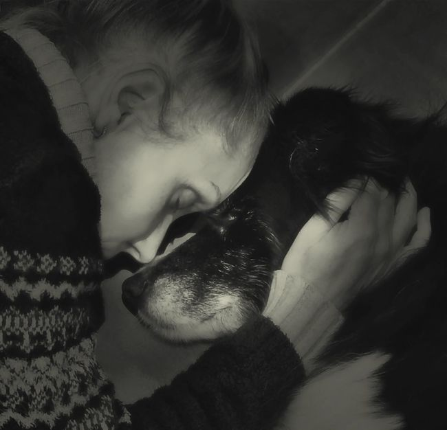 My beloved border collie and I sharing one final intimate moment just before she passed. How blessed I am to have had that moment. Border Collie Last Goodbye Best Friend Companion Love Of My Life Special Moment Beautiful Girl Forever In My Heart Dog Love Faithful Friend Faithful Dog Celebrate Life Black & White Black And White Photography B&w Photo
