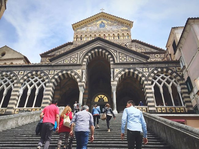Architecture Built Structure Building Exterior Real People Arch Large Group Of People Sky Travel Destinations Men Lifestyles Women Day City Low Angle View Outdoors People Duomo Di Amalfi EyeEm EyeEm Best Shots EyeEm Gallery