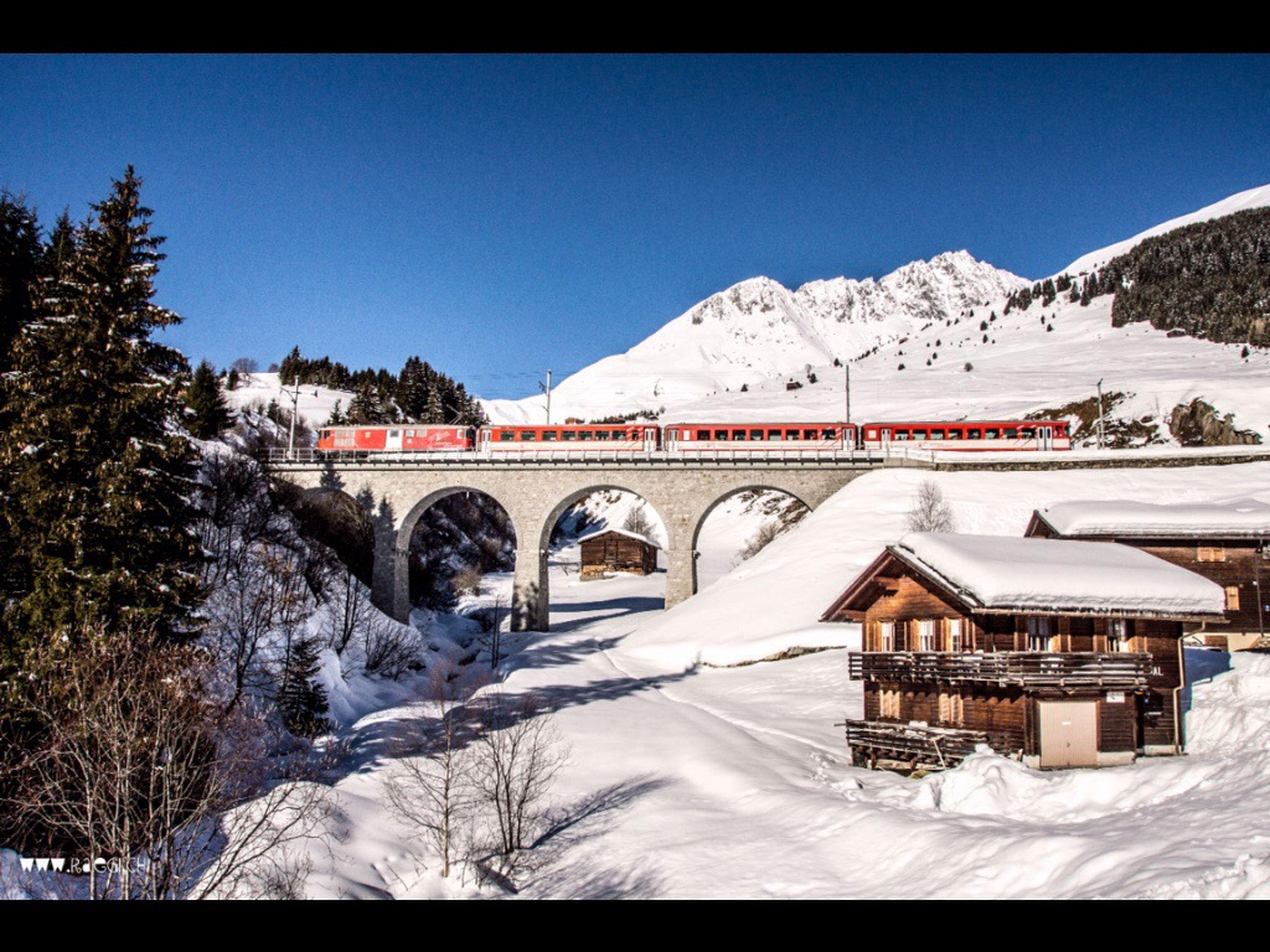 Rueras Graubünden Rhätische Bahn Surselva Winter Viaduct Railway Railroad Bridge Snow