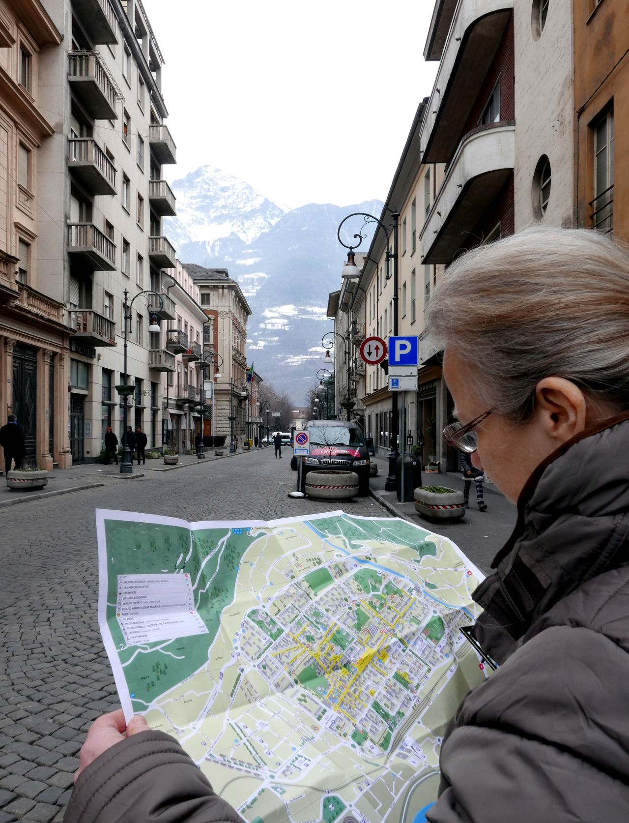 Architecture Building Exterior Built Structure City City Life City Street Leisure Activity Perspective Street Woman Tourist Map City Map Italy Aosta Tourism Travel
