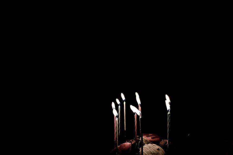 No People Black Background Cake Birthday Cake Birthday Candlelight Candles Candle Light Tapers Dark Darkness And Light Lights