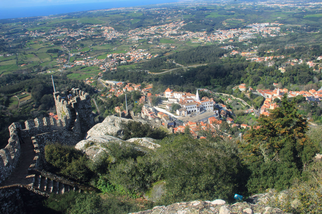 While walking around on the walls of the Moorish Castle in Sintra. View to the National Palace Landscape Landscape_photography Moorish Castle National Palace Sintra Walls
